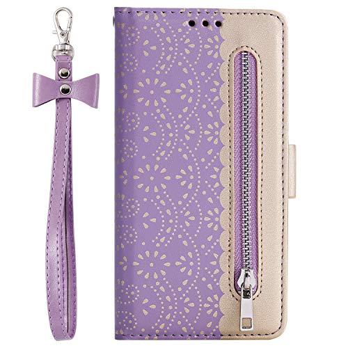 i-Case Funda Xiaomi Mi 9T Libro, 9T Pro Protectora Piel PU Case Cover Carcasa [Flor de Encaje] para Mujer Billetera Protector con Ranuras de Tarjeta y Soporte Plegable con Bolsillo Monedas,Púrpura