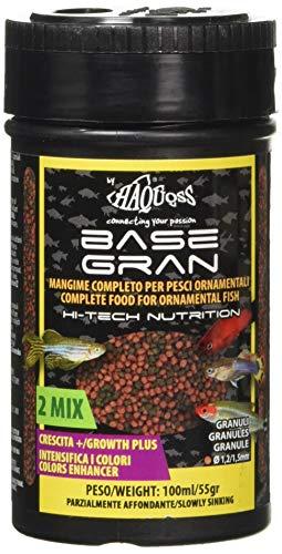 Haquoss Basegran Mangime in Granuli da 1,2 1,5mm per Pesci Tropicali, 100 ml 55 gr