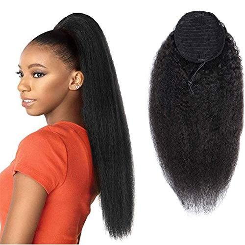 Morningsilkwig Kinky Straight Drawstring Pferdeschwanz 57cm Erweiterungen für schwarze Frauen YAKI lockige Haarverlängerung 22inch