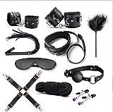 BDSM Restraints Sex Toys Bondage Restraints Kits Fetish Bed Restraints Set for Beginners SM Adult Games Cuffs Gag Blindfold Spanking Paddle 10 Black