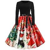 Overdose Weihnachten Damen Rundkragen A-Linie Langarm Plissee Abendkleid Vintage Partykleid Cocktailkleid Frauen Abschlussballkleid Swing Kleider Festliches Kleid mit Gürtel