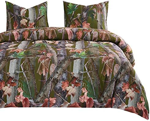 Wake In Cloud Forest Comforter Set Autumn Fall Camo Leaves Trees Wood Hunter Woodland and Brown product image