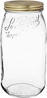 Le Parfait Screw Top Jar - 3L Wide Mouth French Glass Canning Jar w/ 2-Piece Gold Lid, 96oz/3 Quarts (Single Jar)