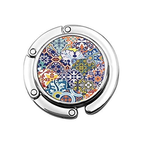 Lindo Monedero Plegable Percha Gancho Monedero Arabesque Azulejos Azulejos Patchwork Patrón Floral...