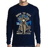 Camiseta de Manga Larga para Hombre Live Young - Die Free - Nacido para Montar en Moto, Ideas de Regalos para Ciclistas, Lemas inspiradores (Medium Azul Multicolor)