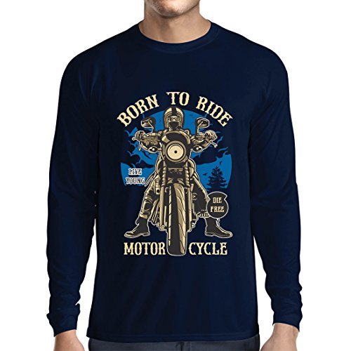 Camiseta de Manga Larga para Hombre Live Young - Die Free - Nacido para Montar en Moto, Ideas de Regalos para Ciclistas, Lemas inspiradores (Small Azul Multicolor)