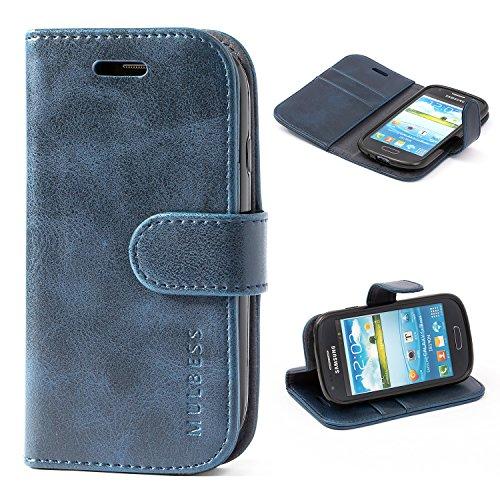 Mulbess Handyhülle für Samsung Galaxy S3 Mini Hülle, Leder Flip Case Schutzhülle für Samsung Galaxy S3 Mini Tasche, Dunkel Blau