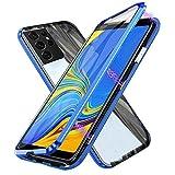 Funda para Samsung Galaxy S21 Ultra 5G, Adsorción Magnética Cubierta Vidrio Templado Frontal y Posterior Flip Case Marco Metal Bumper Funda Anti Choque Protección 360 Grados Carcasa, Azul
