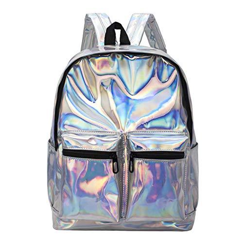 Exing Frauen Holographic Hologram Laser Mädchen Rucksack Schultasche Rucksack Reisetaschen (Silber)