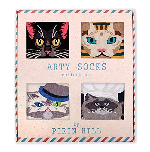 Pirin Hill - Calcetines para hombre, caja de regalo, 4 pares Arty, algodón, multicolor, diseño de perros