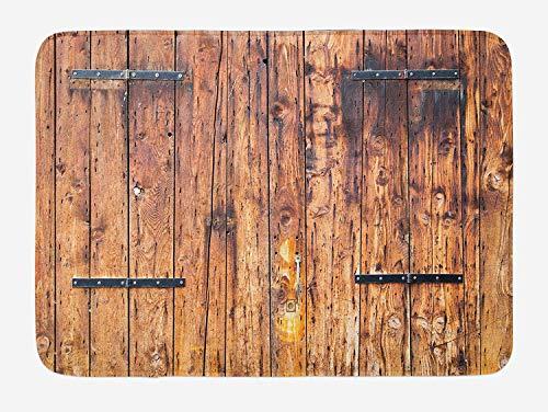 FANCYDAY Rustieke badmat, antieke houten planken in verweerde tinten met sloten vintage stijl landhuis foto, pluche badkamer Decor Mat, crème