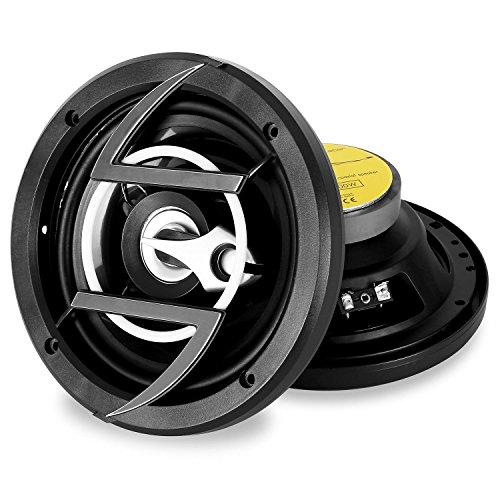 auna CS-658 Pareja de Altavoces de 2 vías para Coche (600 W Potencia máxima Conjunta, Incluye Cables, Altavoces de 6,5'/16,5 cm, diseño clásico y Discreto) - Negro y Plateado