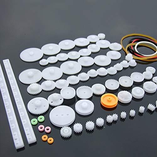 Yongenee 75 piezas / lote de engranajes de plástico, rack, polea, cinturón, engranaje de gusano, herramienta de engranaje único y doble de 8 a 56 dientes