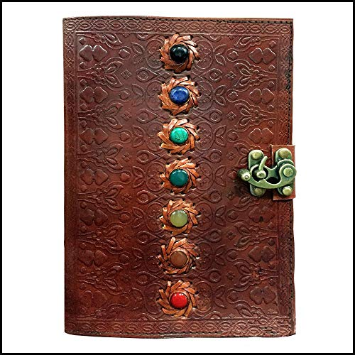 PRASTARA Seven Chakra Medieval Stone Embossed Handmade Leather Journal Book of Shadows Notebook Office Diary College Book Poetry Book Sketch Book 107 Inches