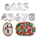 FantasyDay Gift Set Large Letter Numbers Fruit Cookie Cutters Set (0-9) - 3 Inches - Stainless Steel Pastry Cutters Kit for Biscuits, Dough, Fondant, Donuts, Jelly - 9 Pcs Educational Cutters #3