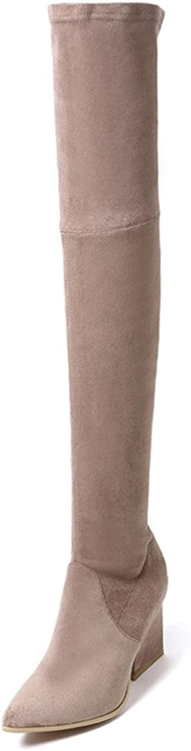 Nine Seven Genuine Leather Women's Pointed Toe Chunky Heel Fashion Handmade Over The Knee Boots