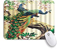 NIESIKKLAマウスパッド 開花ツリーの上に立って孔雀のカップル ゲーミング オフィス最適 高級感 おしゃれ 防水 耐久性が良い 滑り止めゴム底 ゲーミングなど適用 用ノートブックコンピュータマウスマット