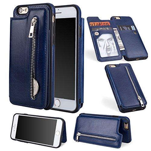 Shinyzone Reißverschluss Brieftasche Handyhülle für iPhone 6S Plus,iPhone 6 Plus Hülle mit Kartenfächer [Magnetische Schnalle] Retro Premium PU Ledertasche Flip Schutzhülle-Dunkelblau