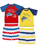 Sweet & Soft Baby Boys 4-Piece Rash Guard and Trunk Swimsuit Set (Infant/Toddler) (Teething Shark, Toddler (2T))'