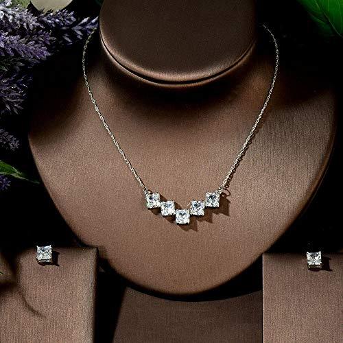 YRCBQJBE Shiny Oval Z Zirconia Stones Fashion Pendant Earrings Jewelry Set for Women Women's Jewelry (Color : A)