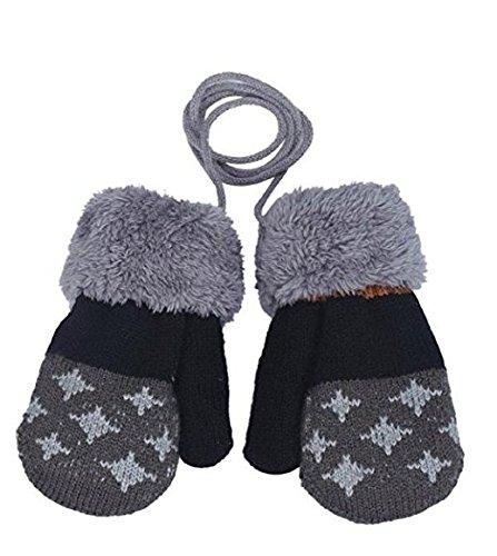 Gants bébé Auxma Pour 0-3 ans Bébé Warm Gloves Kids Garçons Filles Toddler Gants Tricotés Gants Feuille (Gris foncé)