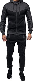 Mens 2 Pieces Full-Zip Fitted Exercise Tracksuit Casual Jogging Athletic Workout Sweat Set