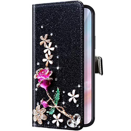 Uposao Compatibile con Samsung Galaxy S7 Edge Glitter Cover Disegno Brillantini Diamond Fiore Rose Farfalla a Libro in PU Pelle Libretto Portafoglio Magnetica Custodia con Supporto Protettiva,Nero