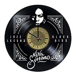 Nina Simone Vinyl Wall Clock - Jazz Soul R&B Handmade Artwork - Home Bedroom Living Kids Room Nursery Wall Decor - Great Gifts Idea for Birthday, Wedding, Christmas - Customize Your Clock