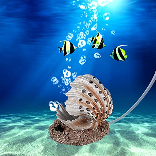 Boxtech Aquarium Decoration - Aerating Action Ornament - Shell Pearl Air Stone Aquarium Fish Tank Shell Bubbler Decor (Shell Pearl Bubble Decoration)