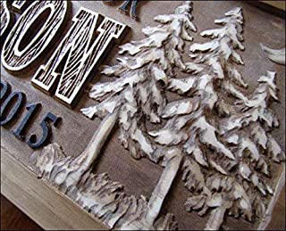 3d Personalized Family Name Signs MOON CARVED Custom Wood Sign Last name Rustic Moon Wedding Gift Established gift for couple personalized sign Pine Tree Custom Carve outdoorsman gift