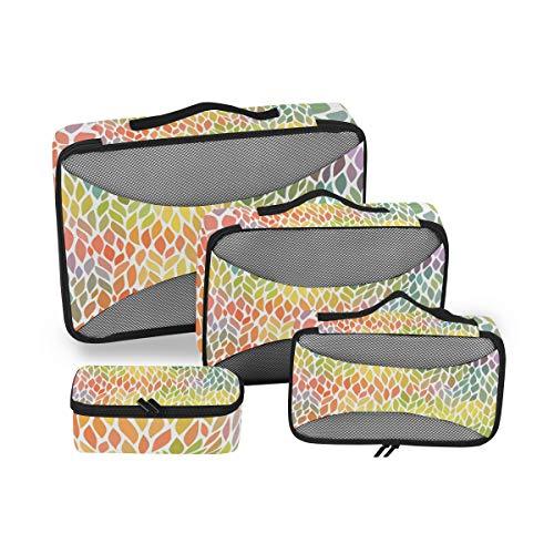 QMIN - Juego de 4 Cubos de Embalaje de Viaje, diseño de Hojas Coloridas, Bolsa organizadora de Maletas de Malla, Bolsa de Almacenamiento para Maletas de Viaje