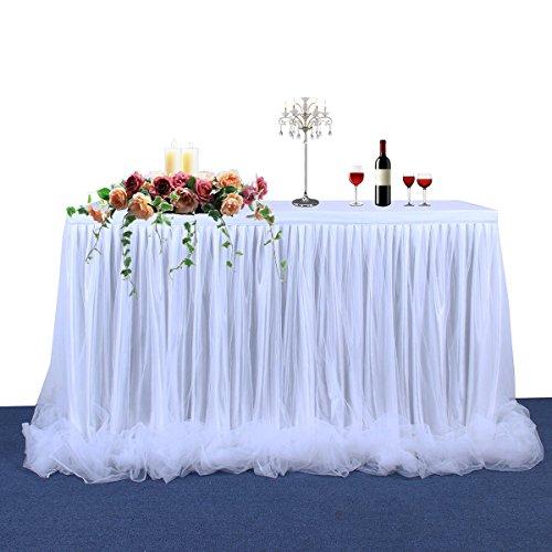 HBBMAGIC Tutu Tischrock Weiß Tüll Tischdeko Party deko Für Babyparty mädchen, Hochzeit, Geburtstag, Weihnachten, Candy bar zubehör (Weiß- Nein LED Licht, 427cm*76cm)