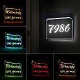 20 LED Numero Civico Esterno ad Energia Solare, Targhe LED per Numeri Civici, Targhetta per il Nome Dell'indirizzo Personalizzata Illuminata, Impermeabile, Bianco + RGB, Luce Solare a LED per Cancello