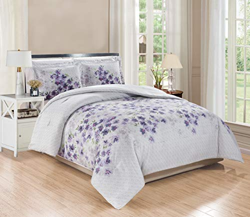 3-Piece King Size Fine Printed Comforter Set Goose Down Alternative Bedding (Purple, Grey, Sage Green, Floral)