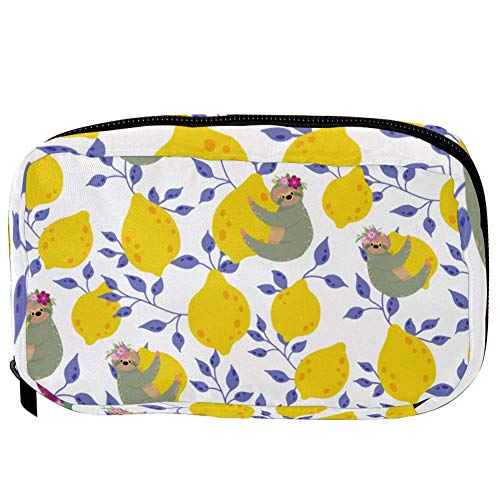 TIZORAX Cosmetic Bags Cute Sloths With Lemons Handy Toiletry Travel Bag Organizer Makeup Pouch for Women Girls