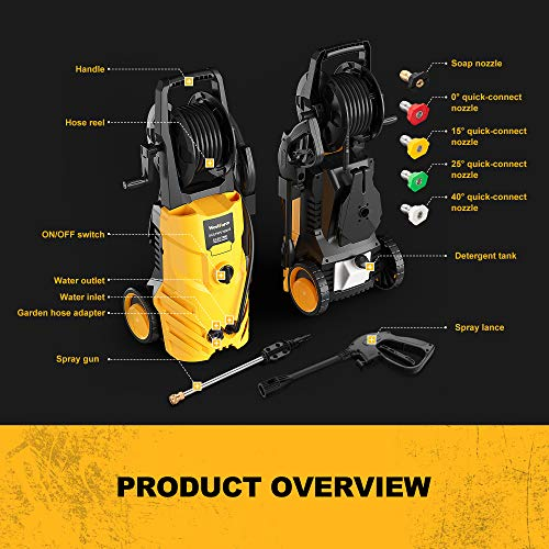 WestForce Electric Pressure Washer, 3000 PSI 1.85 GPM Power Washer, 1800 W High Power Cleaner with 5 Nozzles, Hose Reel, Detergent Tank Ideal for Car, Home, Garden