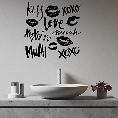 Muurstickers Decal Romantische Vinyl Muursticker Woonkamer Liefde Kus Lippenstift Muur Stickers voor Paar Slaapkamer Badkamer Decoratie 46x46cm