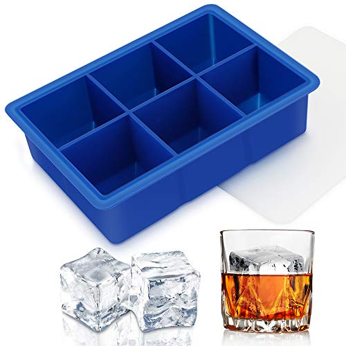 Silicone Ice Cube Tray With Lids, Easy Release Large Size 2' Cubes BPA-Free Ice Trays of 6 Cavities, Spill-Resistant Ice Cube Mold for Whiskey, Spirits, Cocktail & Drinks (Blue)