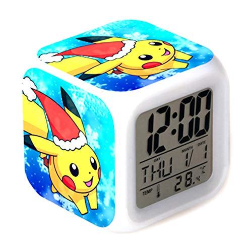 Digitale LED-kleur veranderende thermometer Gloeiende kubus Wekker Pokemon Pikachu