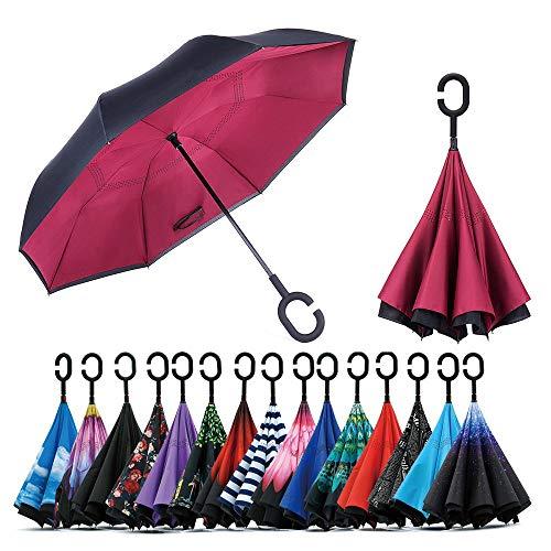 Jooayou Doppelschichtiger umgekehrter Regenschirm, C-förmiger Griff, umgekehrter Faltschirm, Anti-UV, winddichter Reise-Regenschirm mit Tragetasche (Weinrot)