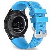 MoKo Cinturino in Silicone Compatible con Galaxy Watch 3 45mm/Galaxy Watch 46mm/Gear S3/Huawei Watch GT2 Pro/GT2e/GT 46mm/GT2 46mm/Ticwatch Pro 3, 22mm Braccialetto Morbido Sportivo, Blu