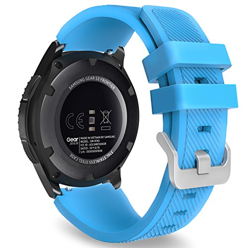 MoKo Gear S3 Frontier/Classic Watch Cinturino, 22mm Braccialetto Morbido Sportivo di Ricambio in Silicone per Samsung Galaxy Watch 46mm/Huawei Watch GT 46mm/Ticwatch PRO, Blu