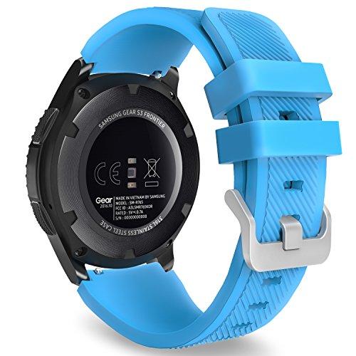 MoKo Correa para Galaxy Watch 3 45mm/Galaxy Watch 46mm/Gear S3 Frontier/Classic/Huawei Watch GT2 Pro/GT2e/GT 46mm/GT2 46mm/Ticwatch Pro 3-22mm Banda Deportiva de Silicona Suave Reemplazo - Azul