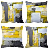 BJYHIYH Yellow Gray Black Pillow Covers 18 x 18 Set of 4, Accent Decorative Throw Pillow Cases Home Decor for Living Room Couch Bed Outdoor