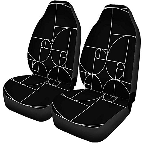 2PCS Autositzbezüge Spirale Goldener Schnitt Muster Fibonacci Rechteck Geometrie Heiliges Gesetz Universal Protector Passt für Auto, SUV Limousine, LKW