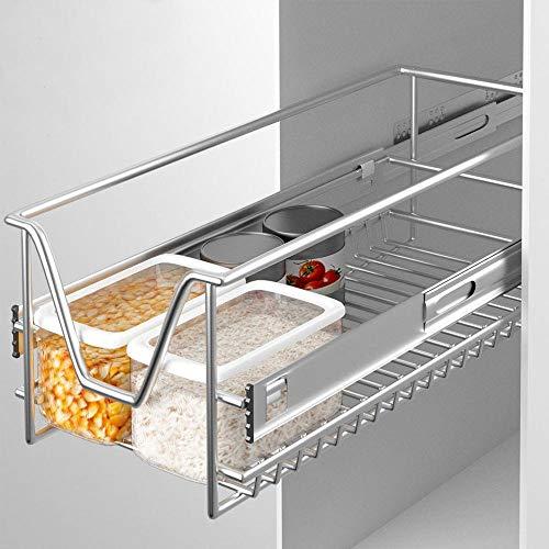Bakaji - Cajón telescópico para muebles de cocina - Cesta de almacenamiento extraíble - Mueble para ahorrar espacio con riel de acero inoxidable