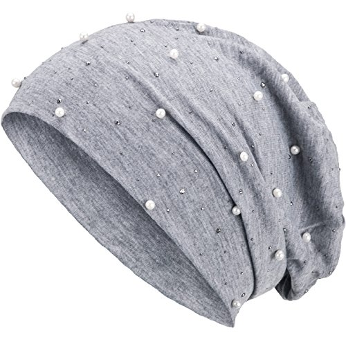 Compagno Slouch Beanie mit Perlen aus atmungsaktivem, feinem und leichten Jersey Unisex Damen Mütze Haube Boho Bini Mädchen Einheitsgröße, Farbe:Hellgrau
