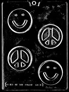 Cybrtrayd Life of the Party K113 Smiley Smily Smile Face Peace Sign Soap Bar Chocolate Candy Mold in Sealed Protective Poly Bag Imprinted with Copyrighted Cybrtrayd Molding Instructions