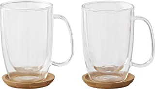 Caribou Coffee 12 0z. Coffee Mugs Double Wall Glass (2 Pack) Includes Trivets