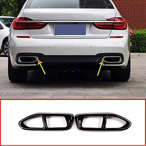 YIWANG 304 Stainless Steel Pipe Throat Exhaust Outputs Tail Frame Trim Cover 2Pcs For BMW 7 Series G11 G12 730 740 750li 2016-2019 M Sport Version Auto Accessories (Gloss Black)